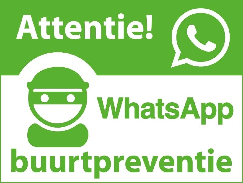Set van 2 Whatsapp buurtpreventie stickers gespiegeld (6x8cm)
