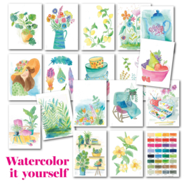Set met alle 'Watercolor it yourself' kaarten