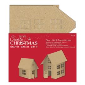 Create Christmas 'Die cut kraft paper houses'