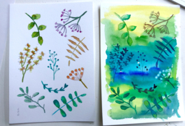 Watercolor it yourself 17. 'Takjes en Blaadjes'