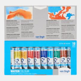 Watercolor tubes met metalen box, lege napjes en penseel