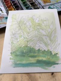 Watercolor it yourself 6. 'Grassen en Blaadjes'