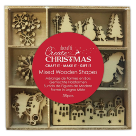 Create Christmas 'Mixed wooden shapes snowy town'