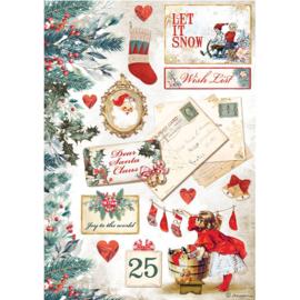 Rice paper Romantic Christmas 'Let it snow'