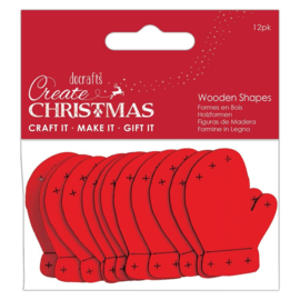 Create Christmas 'Mittens red wooden shapes'