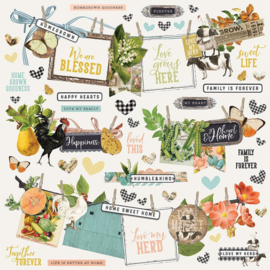 'Vintage Cottage Fields' element stickers