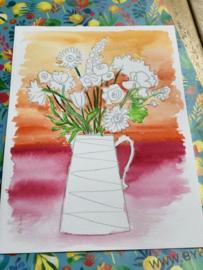 Watercolor it yourself 12. 'Kan met bloemen'