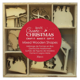 Create Christmas 'Mixed wooden shapes native'