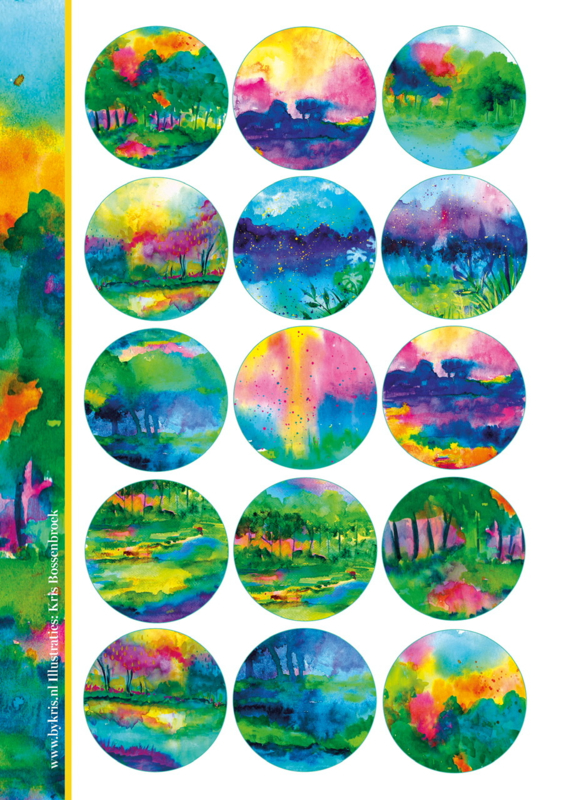 Stickervel 'Watercolor By Kris'