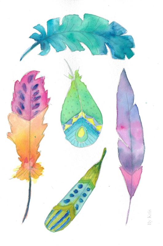 Watercolor it yourself 10. 'Veertjes'