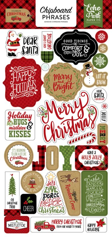 ' Celebrate Christmas' Chipboard phrases