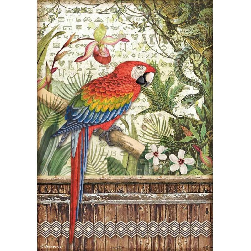 Rice paper 'Amazonia Parrot'