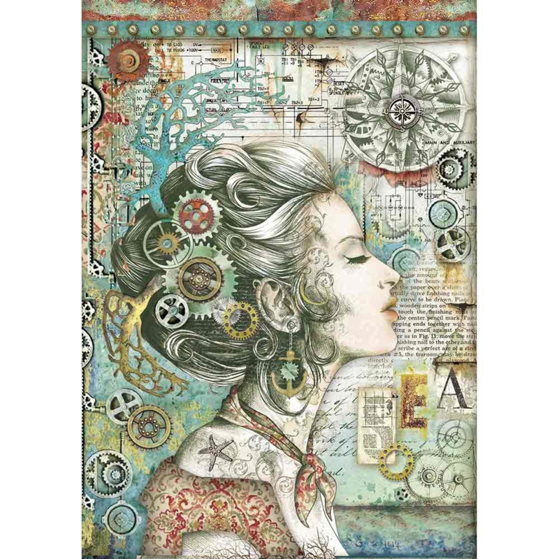 Rice paper 'Lady with compass'