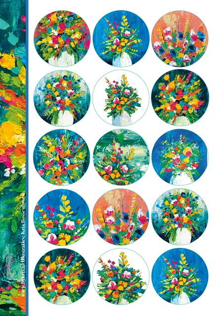 Stickervel 'Flowers By Kris'