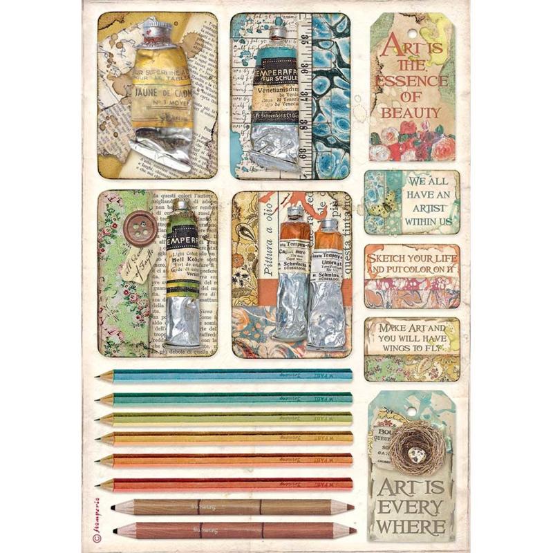 Rice paper 'Atelier Tubes of Paints & Pencils'