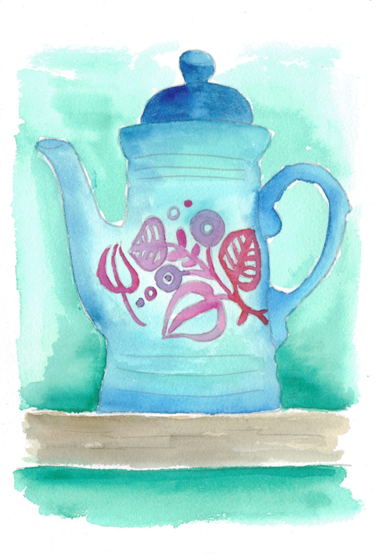 Watercolor it yourself 13. 'Vintage theepot'