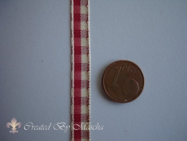 Geruit lint, antiek rood/wit (6 mm) nr 48