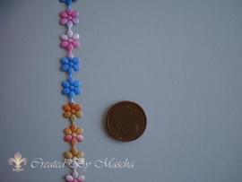 Satijnlint met bloemen (8 mm) nr 55