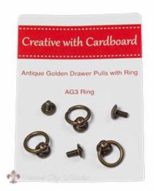 Knopjes met ring, antiek goud
