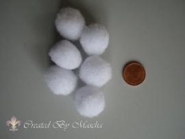 Pom-poms, 20 mm, wit