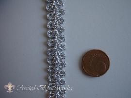 Decoratief gevlochten lint, zilver (10 mm) nr 33