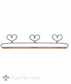 Quilthanger met drie hartjes, 38 cm.