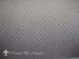 Design vilt, grijs met witte stippen.