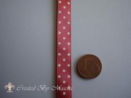 Decoratief lint rood/wit gestipt (10mm) nr.1