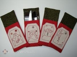 Kerstbestekzakjes (set van 4) - compleet