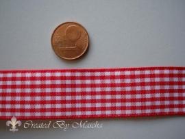 Geruit lint, rood/wit, 20 mm 51388-1
