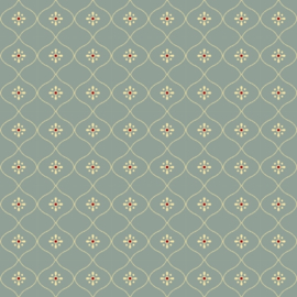 Past & Present, Vintage Wallpaper, Stone Blue