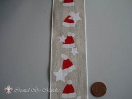 Decoratief lint, beige met kerstmutsjes nr 372