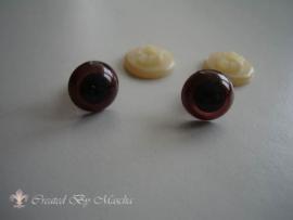Kunststof ogen, bruin, 12 mm
