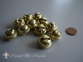 Vergulde metalen belletjes (15 mm)