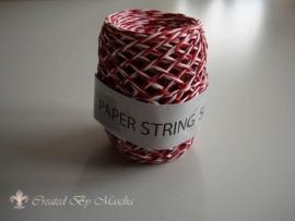 papierkoord, rood/wit, 50 meter
