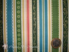 Benartex City Girl Holiday, groen blauw gestreept.