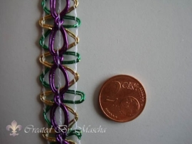Decoratief lint paars, groen, goud, 17 mm nr 52223-2