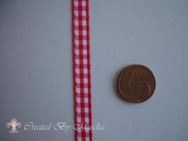 Geruit lint, rood/wit (6 mm) nr 50