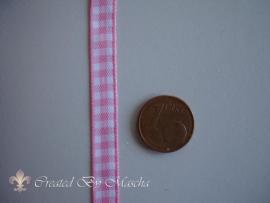 Geruit lint, wit/rose, (6 mm) nr 51
