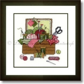 LK, Nähkästchen, grün-rosé