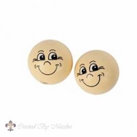 Houten bal met gezicht, 22 mm