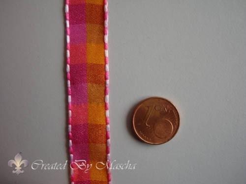 Geruit lint,  rood, oranje en roze (15 mm) nr 63