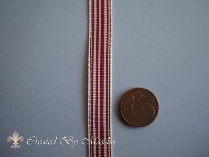 Decoratief lint rood/wit gestreept (10 mm) nr 2