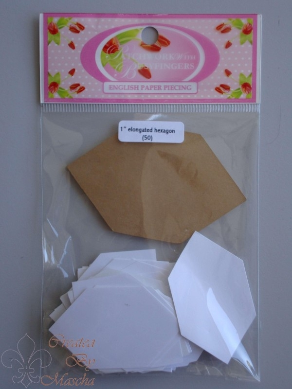 Patchwork with busy fingers - Elongated hexagon 1 inch met template