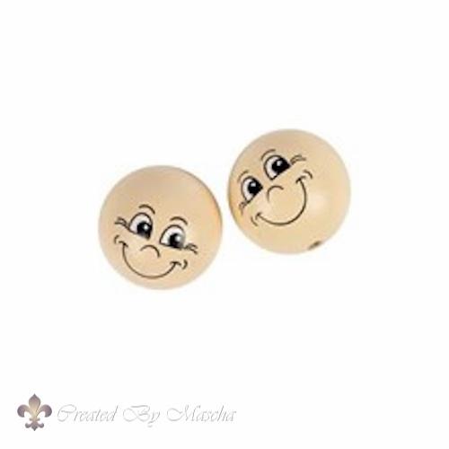 Houten bal met gezicht, 30 mm