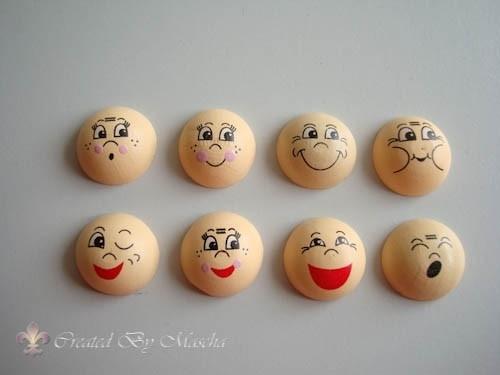 Buttons met gezicht, 20 mm, hout