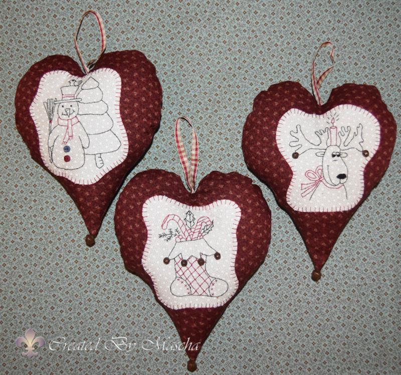 Kerstharten stitcherie, serie van 3