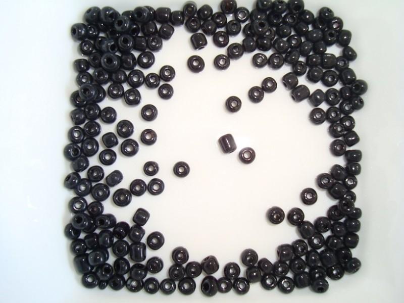 Roccailles, zwart, 4 mm, glaskralen