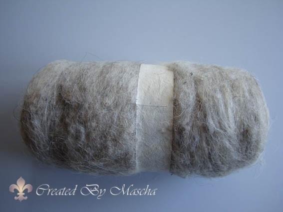 Gekaarde wol, naturel, 100 gram