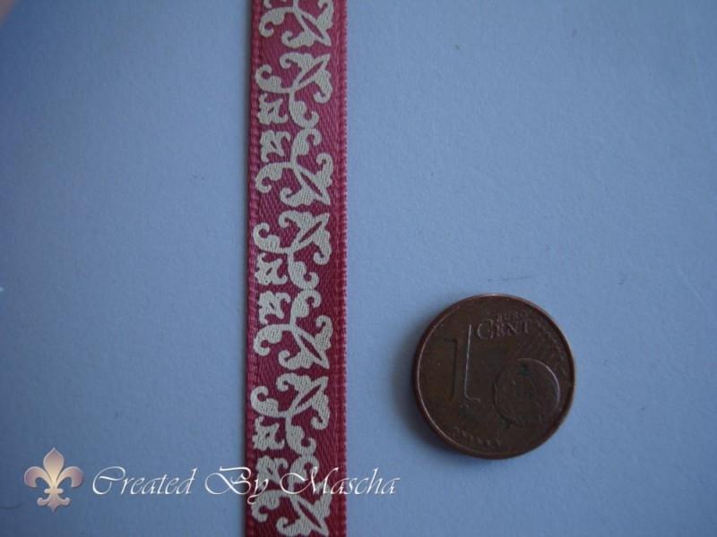 Decoratief lint rood/wit ornamenten (10mm) nr 3